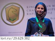 Купить «World Rapid and Blitz Chess Vice Champion Sarasadat Khademalsharieh, Iran», фото № 29629382, снято 30 декабря 2018 г. (c) Stockphoto / Фотобанк Лори