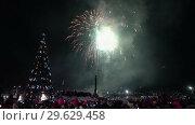 Купить «Праздничный фейерверк в честь Нового года», видеоролик № 29629458, снято 1 января 2019 г. (c) А. А. Пирагис / Фотобанк Лори