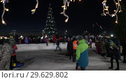 Купить «Снежный городок, новогодняя елка в Петропавловске-Камчатском», видеоролик № 29629802, снято 1 января 2019 г. (c) А. А. Пирагис / Фотобанк Лори