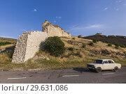 Nagorno Karabakh Republic, Askeran, Mayraberd Fortress, 18th century, fortress ruins and Soviet-era Zhiguli car. Стоковое фото, фотограф Walter Bibikow / age Fotostock / Фотобанк Лори