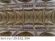 Потолок католического храма. Собор аббатства Сент-Уэн, Руан, Франция. (2018 год). Стоковое фото, фотограф Сергей Рыбин / Фотобанк Лори