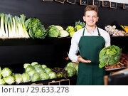 Купить «Shop assistant demonstrating cabbage», фото № 29633278, снято 23 ноября 2016 г. (c) Яков Филимонов / Фотобанк Лори