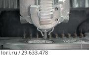Купить «Closeup view at carving process in dental milling machine», видеоролик № 29633478, снято 29 декабря 2018 г. (c) Andriy Bezuglov / Фотобанк Лори