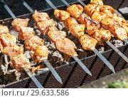 Купить «Appetizing hot shish kebab or shashlik», фото № 29633586, снято 30 июня 2018 г. (c) FotograFF / Фотобанк Лори