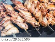 Купить «Grilled shish kebab or shashlik from chicken meat», фото № 29633590, снято 30 июня 2018 г. (c) FotograFF / Фотобанк Лори