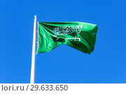 Купить «National flag of Saudi Arabia waving in the wind», фото № 29633650, снято 17 июня 2018 г. (c) FotograFF / Фотобанк Лори