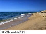 Deserted sandy beach. Tidal bore. Стоковое фото, фотограф Евгений Ткачёв / Фотобанк Лори
