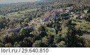 Купить «Image of Catalan village Vilanova de Sau - spain village from aerial view», видеоролик № 29640810, снято 17 ноября 2018 г. (c) Яков Филимонов / Фотобанк Лори