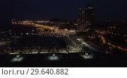 Купить «Aerial view of autumn twilight in Barcelona, Spain», видеоролик № 29640882, снято 28 сентября 2018 г. (c) Яков Филимонов / Фотобанк Лори