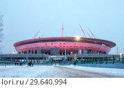 """Купить «Стадион """"Газпром Арена"""" на Крестовском острове с ночной подсветкой. Санкт-Петербург», фото № 29640994, снято 4 января 2019 г. (c) Румянцева Наталия / Фотобанк Лори"""