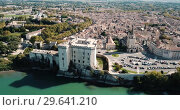 Купить «View from drone of castle of Tarascon and river Rhone, France», видеоролик № 29641210, снято 13 октября 2018 г. (c) Яков Филимонов / Фотобанк Лори