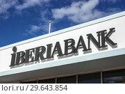 Купить «Florida, Miami Beach, Alton Road, Iberia Bank sign,», фото № 29643854, снято 12 декабря 2018 г. (c) age Fotostock / Фотобанк Лори