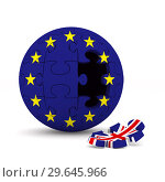 Купить «flag EU and Great Britain on puzzle. Isolated 3D illustration», иллюстрация № 29645966 (c) Ильин Сергей / Фотобанк Лори