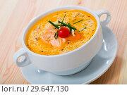 Купить «Tasty fresh soup with salmon, served in white bowl at table», фото № 29647130, снято 19 февраля 2019 г. (c) Яков Филимонов / Фотобанк Лори
