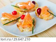 Купить «Tapas with salmon, lemon, cranberry», фото № 29647210, снято 17 января 2019 г. (c) Яков Филимонов / Фотобанк Лори