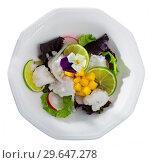 Купить «Sea food – cod ceviche with mango», фото № 29647278, снято 20 января 2019 г. (c) Яков Филимонов / Фотобанк Лори