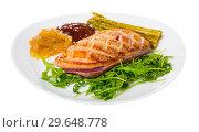 Купить «Fried duck breast Magre served with tasty sauces and arugula», фото № 29648778, снято 23 марта 2019 г. (c) Яков Филимонов / Фотобанк Лори