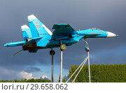Купить «Russian fighter SU-27 as monument», фото № 29658062, снято 8 июля 2017 г. (c) FotograFF / Фотобанк Лори