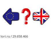 Купить «flag EU and Great Britain on white background. Isolated 3D illustration», иллюстрация № 29658466 (c) Ильин Сергей / Фотобанк Лори