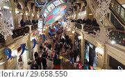 Moscow, Russia - January 7.2019. Christmas decorations dedicated to Soviet cartoons in the GUM store. Редакционное видео, видеограф Володина Ольга / Фотобанк Лори