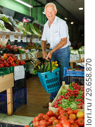 Купить «Senior man with basket with fresh greengrocery», фото № 29658870, снято 16 июня 2018 г. (c) Яков Филимонов / Фотобанк Лори
