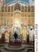 Купить «Рождественская литургия в Тихвинском храме Коломны», эксклюзивное фото № 29659458, снято 8 января 2019 г. (c) Дмитрий Неумоин / Фотобанк Лори