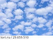 Купить «Blue sky background with clouds.», фото № 29659510, снято 24 июня 2018 г. (c) Ирина Носова / Фотобанк Лори