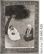 Hâfiz de Chiraz, left, in conversation with the king Abu Ishaq Indjou, right. Khwaja Shams-ud-Din Mu?ammad ?afe?-e Shirazi, aka Hafez or Hafiz, 1315-1390. Persian poet. Редакционное фото, фотограф Classic Vision / age Fotostock / Фотобанк Лори