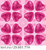 Many pink glitter hearts valentines day background. Стоковое фото, фотограф bashta / Фотобанк Лори