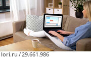 Купить «woman chatting online on laptop at home», видеоролик № 29661986, снято 21 февраля 2019 г. (c) Syda Productions / Фотобанк Лори