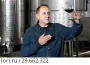 Купить «Worker of winery costs with glass of red wine near tanks», фото № 29662322, снято 12 октября 2016 г. (c) Яков Филимонов / Фотобанк Лори