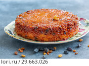 Kugel is a traditional dish of Jewish cuisine. Стоковое фото, фотограф Марина Сапрунова / Фотобанк Лори