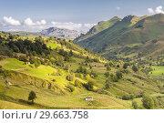 Купить «View of Valles Pasiegos from Estacas de Trueba pass, Vega de Pas, Cantabria, Spain.», фото № 29663758, снято 18 августа 2018 г. (c) age Fotostock / Фотобанк Лори