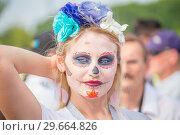 Купить «Russia, Samara, June 2018: Mexican cheerleaders decorated for the holiday Day of the Dead.», фото № 29664826, снято 2 июля 2018 г. (c) Акиньшин Владимир / Фотобанк Лори