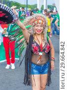 Купить «Russia, Samara, July 2018: beautiful Mexican football fan during the FIFA 2018 World Cup.», фото № 29664842, снято 2 июля 2018 г. (c) Акиньшин Владимир / Фотобанк Лори