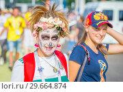 Купить «Russia, Samara, June 2018: Mexican cheerleaders decorated for the holiday Day of the Dead.», фото № 29664874, снято 2 июля 2018 г. (c) Акиньшин Владимир / Фотобанк Лори
