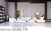 Купить «modern loft living room interior.», фото № 29665174, снято 20 января 2019 г. (c) Виктор Застольский / Фотобанк Лори
