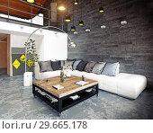 Купить «modern loft living room interior.», фото № 29665178, снято 20 января 2019 г. (c) Виктор Застольский / Фотобанк Лори