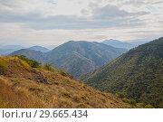 Купить «Caucasus mountains landscape», фото № 29665434, снято 26 сентября 2018 г. (c) Юлия Бабкина / Фотобанк Лори