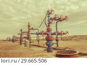Купить «Wellheads with valve armature on a oil field», фото № 29665506, снято 24 мая 2016 г. (c) bashta / Фотобанк Лори