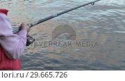 Купить «Stock Footage Fishing -Woman», видеоролик № 29665726, снято 25 июня 2019 г. (c) Wavebreak Media / Фотобанк Лори