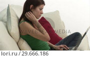 Купить «Woman on Sofa with a Laptop», видеоролик № 29666186, снято 15 февраля 2008 г. (c) Wavebreak Media / Фотобанк Лори