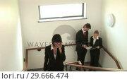 Купить «Business People Talking on Stairwell», видеоролик № 29666474, снято 1 марта 2008 г. (c) Wavebreak Media / Фотобанк Лори