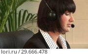 Купить «Business Woman Talking on Headset», видеоролик № 29666478, снято 1 марта 2008 г. (c) Wavebreak Media / Фотобанк Лори