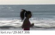 Купить «Woman on Beach Jogging», видеоролик № 29667306, снято 22 августа 2019 г. (c) Wavebreak Media / Фотобанк Лори