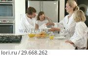 Купить «Wellrested Family eating at a breakfast table», видеоролик № 29668262, снято 2 апреля 2009 г. (c) Wavebreak Media / Фотобанк Лори