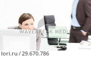 Купить «Boss negative feedback to a female employee», видеоролик № 29670786, снято 4 октября 2009 г. (c) Wavebreak Media / Фотобанк Лори