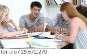 Купить «Group of teenagers studying together», видеоролик № 29672270, снято 22 октября 2009 г. (c) Wavebreak Media / Фотобанк Лори