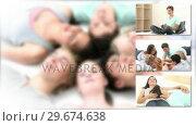 Купить «United group of teenagers having fun», видеоролик № 29674638, снято 12 июля 2020 г. (c) Wavebreak Media / Фотобанк Лори