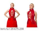 Купить «Blond hair model in dress with pomegranate isolated on white», фото № 29675230, снято 20 марта 2015 г. (c) Elnur / Фотобанк Лори